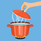 Cooking pot on stove with water and steam.
