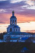Monastery in Bogolubovo at sunset, Vladimir region, Russia. Spring landscape