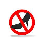 High heels prohibiting vector sign