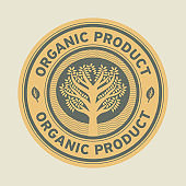Abstract sign or label with text Organic product
