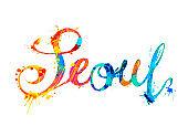 SEOUL city name. Splash paint word