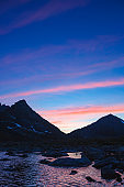 Altai mountains. Upper Akchan lake. Night landscape.