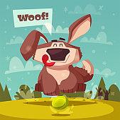 Funny dog. Cartoon vector illustration