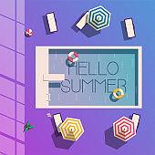 Hello summer. Swimming pool. Flat vector illustration.