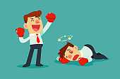 businessman in boxing gloves won the fight against another businessman