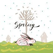 Hand drawn vector abstract sketch graphic scandinavian collage Happy Easter cute simple bunny,tree illustrations greeting card poster and handwritten calligraphy Spring isolated on white background