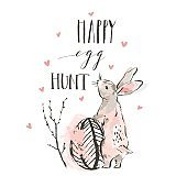 Hand drawn vector abstract sketch graphic scandinavian collage Happy Easter simple bunny illustrations greeting card poster and handwritten calligraphy Happy egg hunt isolated on white background