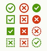 Check mark icon. Green and red marks and crosses. Symbols of the recommendations are correct and incorrect.
