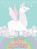 Funny illustration with alpaca unicorn and rainbow.