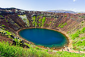 Blue volcanic crater-lake Kerid in Iceland 11.06,2017