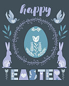 Happy Easter greeting card, poster in Scandinavian style