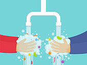 Washing hands under the faucet with soap, hygiene concept.