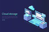 Data center with digital devices. Concept of cloud storage, data transfer.