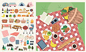 Set of elements for picnic. Summer picnic in meadow with food and drink