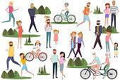 Set of active people walking and  riding on bicycles in the park. Active couples, families, kids, elderly couples
