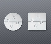 Abstract business jigsaw puzzle. Empty presentation pieces of puzzles.