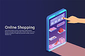 Concept online shopping from smartphone.