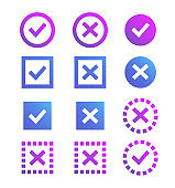 Check mark icon. Blue and purple marks and crosses. Symbols of the recommendations are correct and incorrect.