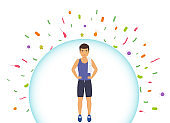 Sports man reflects bacteria. Protecting immune system from bad bacteria. Barrier against viruses.