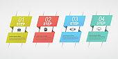 Design infographics with 4 steps. Business concept block diagram, information graph, workflow.