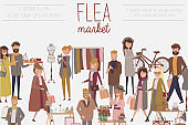 Flea market poster with people selling and shopping