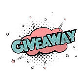 Giveaway pop art print. Gift lettering poster. Win prize modern typography banner