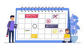 Business event planning, reminders and schedules. Concept  business people, business man with pencil.