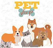 Illustration with dogs and cats. Poster for pet shop poster