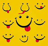 Smiling face with tongue on yellow background.