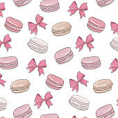Macaroon pattern. Sweet dessert biscuit cookies surface design. Macaron pink texture with bow. Delicious restaurant fabric