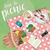Summer picnic in meadow with food and drink
