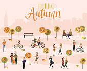 Flat design of group people outdoor in the autumn park on weekend