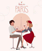 Love story in Paris with a lover couple