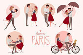 Set of characters. Love story in Paris with a lover couple in different poses