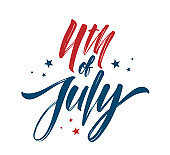 Vector illustration: Handwritten brush lettering composition of 4th of July on white background. Happy Independence Day