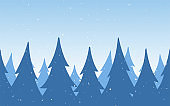 Vector illustration: Seamless background. Template of Christmas greeting card with winter snowy pine forest