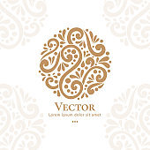 Abstract golden logo in a round shape. Can be used for jewelry, beauty and fashion industry. Elegant, classic elements.