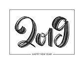 Hand drawn textured brush type lettering of 2019. Happy New Year. Chines calligraphy
