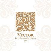 Golden abstract emblem. Great for logo, monogram, invitation, flyer, menu, brochure.