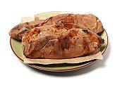 Yaki imo (Roasted sweet potato)  on white background,