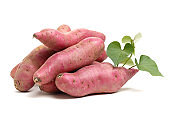 Sweet potato leaves in  a white background