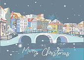 Hand drawn colorful vector Illustration of the romantic street in winter. Christmas greeting card.
