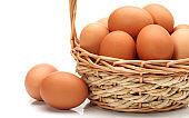 Basket full of eggs on white background