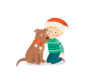 Happy child and dog on Christmas eve. Kid and pet dressed in Santa hat. Child having fun with puppy at home. Cartoon vector hand drawn illustration isolated on white background in a flat style.