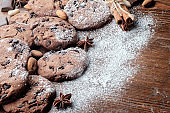Chocolate chips cookies on table.