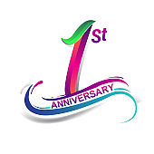 anniversary celebration logotype green and red