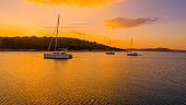 Yachts and island, Croatia