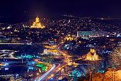 Top view in Tbilisi at night