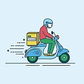 Man in helmet riding scooter with carton box with products from grocery store, shop or supermarket. Food delivery service worker or courier.
