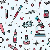 Seamless pattern with medical laboratory equipment. Backdrop with attributes of medicine, biomedicine, clinical trial, research and experiment.